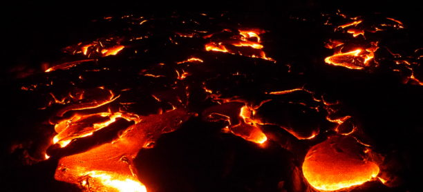 Hot Lava Flow on the Big Island of Hawaii 2016